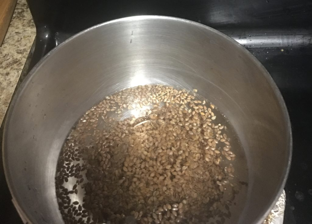 flaxseed in boiling water.